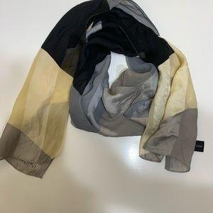 Adrienne Vittadini Silk Black Gray Scarf